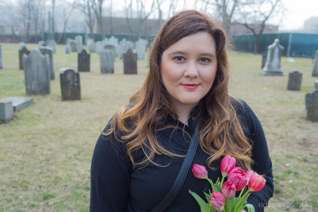 Beautiful woman in a cemetery