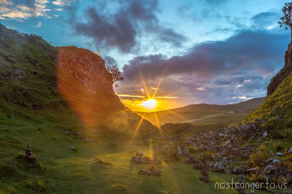 Sunset in the Fairy Glen, Isle of Skye, Scotland.