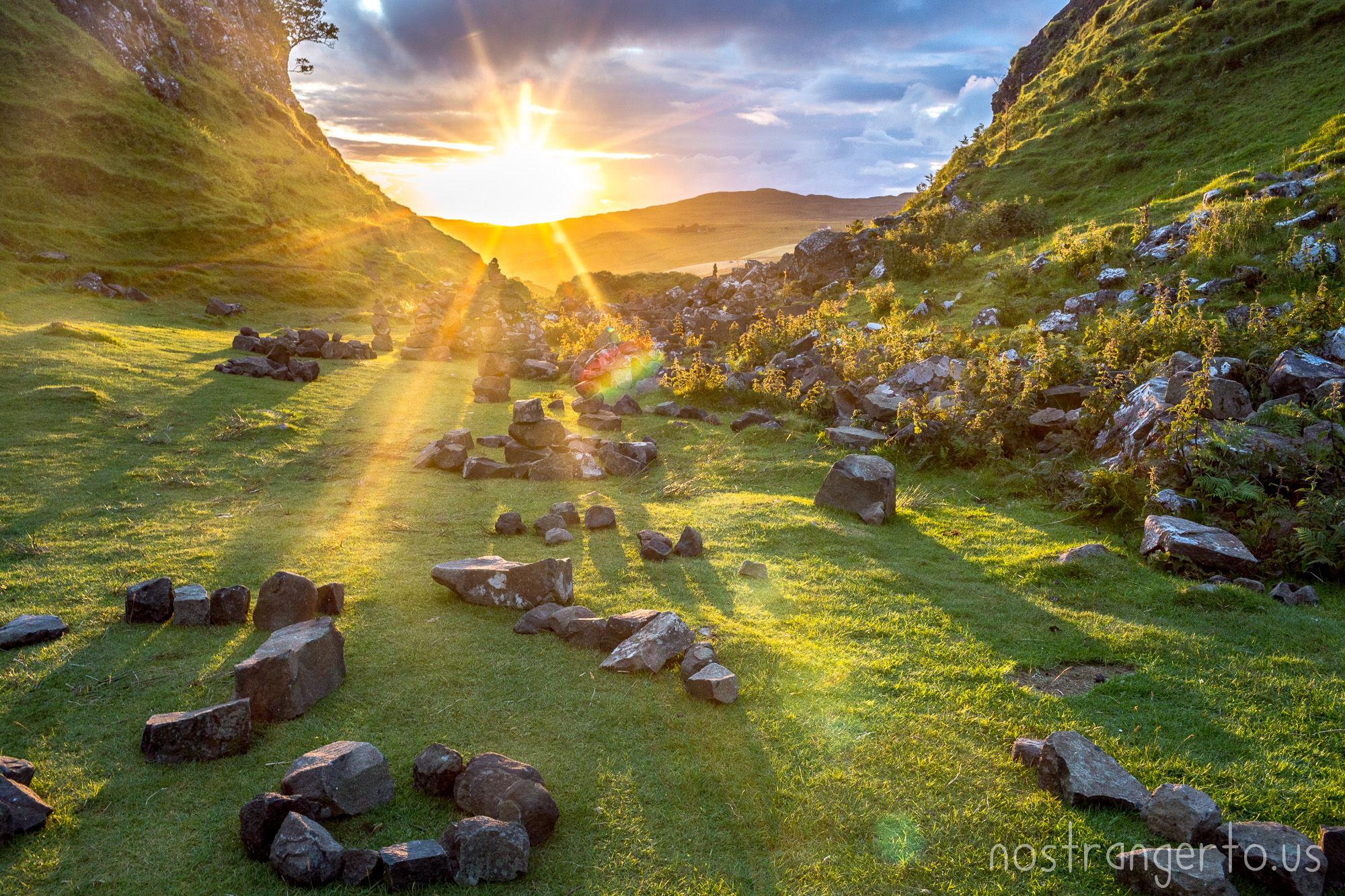 Stones magically arrange themselves in the Fairy Glen near Uig on the Isle of Skye, Scotland