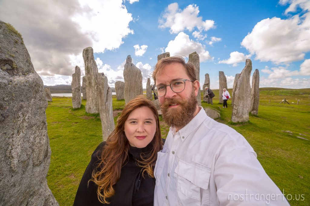 About 5 millennia ago, people in Scotland raise giant stones in Callanish, 9 years ago @julietter and I were married, in 50 years we harness the power of the stones to return to photobomb ourselves.