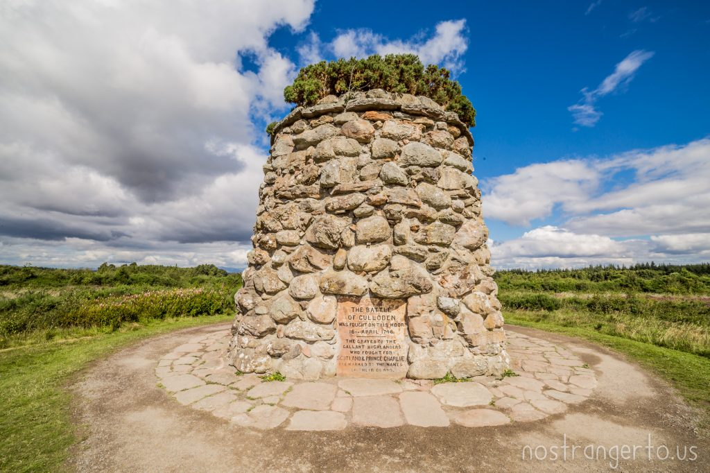 This cairn commemorates the battle of Culloden, the last stand of Bonny Prince Charlie against the British government in the Scottish Highlands.